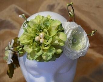 Floral bridal crown, hair wreath, green and white flowers, wedding tiara, bridal headband