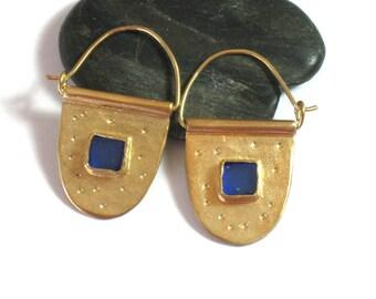 Gold Glass Earrings, Gold Hoops, Hoop Earrings, Blue Glass Earrings, Glass Jewelry, Gold Plated Silver, Artizan Earrings, Unique Earrings