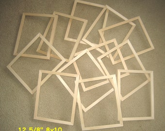 "Unfinished  wood picture frames lot of 12 (8x10, 8x8 etc)  5/8"" wide moulding"