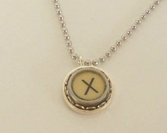 Typewriter Key Necklace, Letter X, Vintage, Initial Jewelry,  All Letters Available, Typography Jewelry,