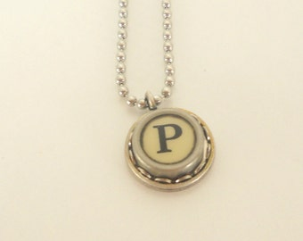 Typewriter Key Necklace, Letter P , Vintage, Initial Jewelry,  All Letters Available, Typography Jewelry,