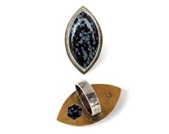 Snowflake Obsidian Hex Ring