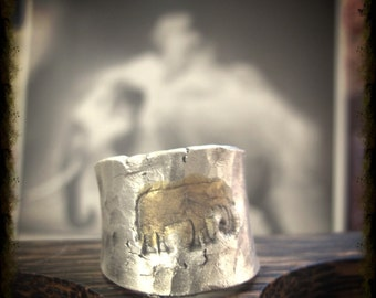 Lucky elephantastic aka the tossed in all directions ring in recycled fine silver made to order