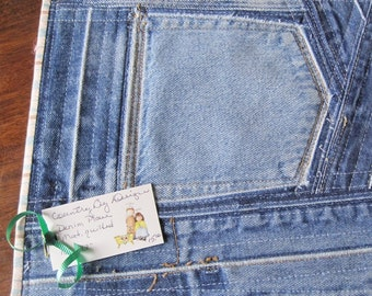 Denim pocket place mat, quilted, vintage denim, 10 inches by 12 inches