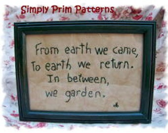 E-pattern -We Garden-  Primitive Stitchery epattern