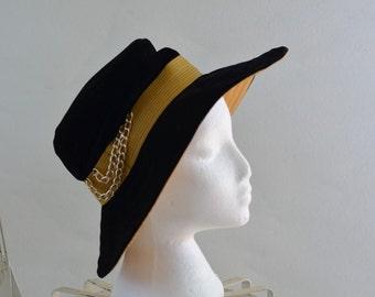 Vintage Hat 70s Wide Brim Floppy Black Gold Boho Hipster Chain Henri Originals