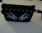 reserved for Kimberly Noir - tattoo SWALLOWS clutch bag purse black and white  sparrow wristlet make up bag metal grommets