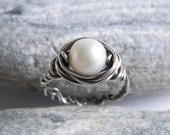 White Pearl Silver Ring, Freshwater Pearl Oxidized Sterling Silver Braid Hammerd Ring