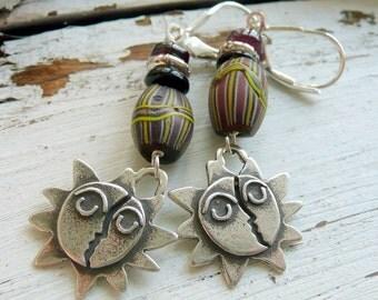 Handcrafted Artisan Sun Moon Sterling Silver Charm Rare African Trade Bead Onyx Garnet OOAK Boho Tribal Southwestern Dangle Earrings
