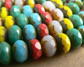 Picasso Mix Czech Glass Bead Gemstone Rondell Donut Fire Polished Multicolor 6x9mm (30)