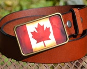 The Ryan Belt - Vintage Canadian Flag Buckle with Brown Leather Belt
