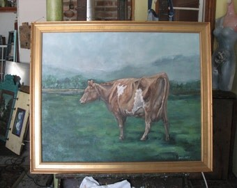 Original Oil painting Cow Study framed 24 by 30 painting FREE Shipping