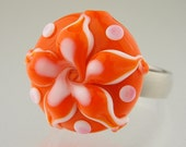 "Interchangeable lampwork ring or pendant topper, ""Orange Cream"""