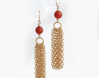 Carnelian and Gold Chain Earrings