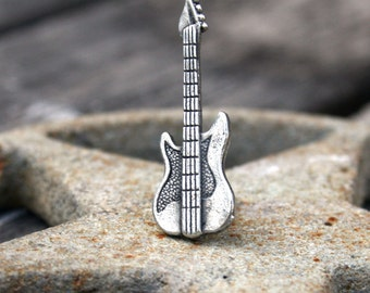 Tie Tack - Electric Guitar, Antique Silver Finish