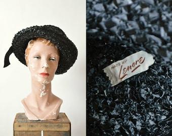 SALE /// 1960s Black Straw Hat --- Vintage Lenore Hat