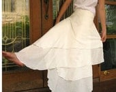 Custom Made Cream cotton Hippie Gypsy  Two Layers Circle Long Wrap Skirt S-L (H)