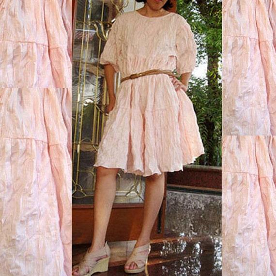 Sale  Pink Curly Cotton Patchwork  Loose Short Tunic Dress Boho  Blouse  S-L  (C 3)