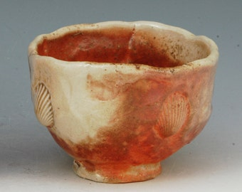 Chawan pinched bowl cup tea coffee Wood fired for 2 days shino glaze ron mello T507