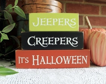 Halloween Jeepers Creepers Shelf Sitter Sign Blocks Creepy Home Decor Set of 3