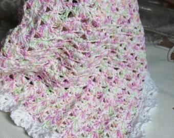 Crochet baby doll Blanket Afghan 18 1/2  x 19 inch FAN17