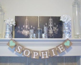 CUSTOM Name Sign,Baby Shower Decor, Personalized Name Banner, Name BANNERS,  Welcome