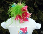 Over The Top--Baby Girl Ostrich Bow--1st Birthday--Made To Match