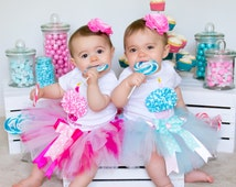 Twin Baby Girl 1st Birthday Outfits - First Birthday Tutu Outfit for Twins - Birthday Tutu