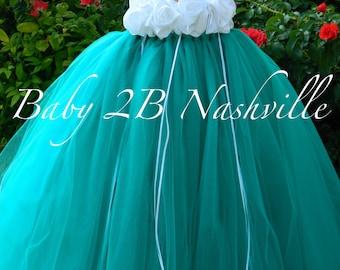 Teal Flower Girl Dress  Wedding Flower Girl Dress in Teal and White  Baby - size 10 Girls