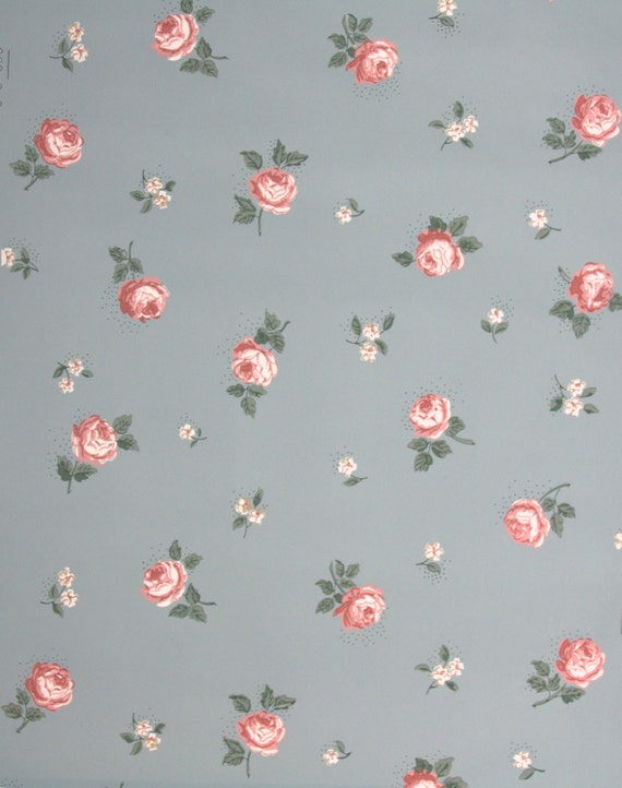 1940's Vintage Wallpaper Small Pink Roses on Blue