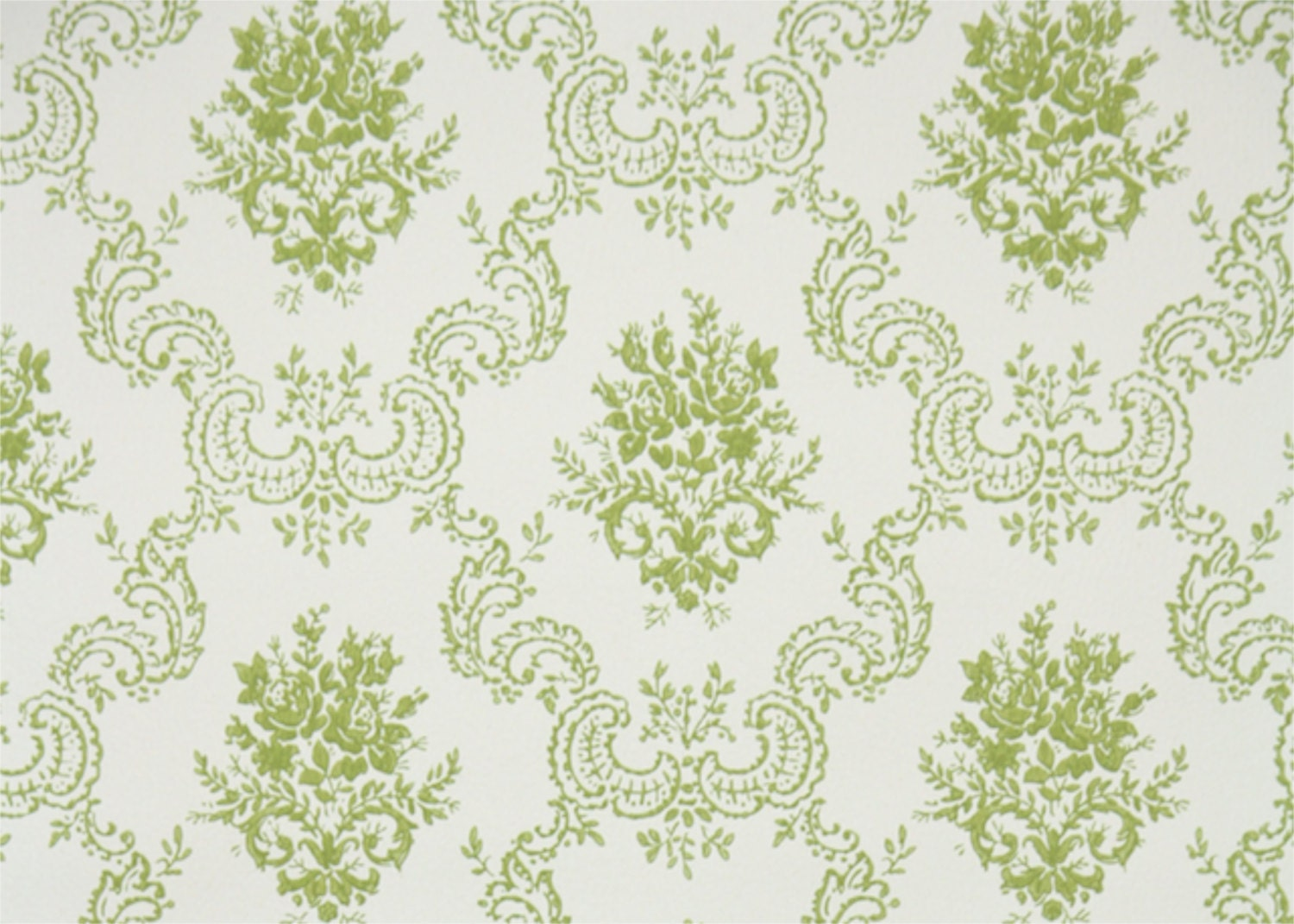 1950s vintage wallpaper by the yard green and white rose - Papier peint vintage 50 ...