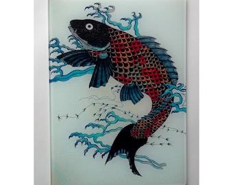 Koi glass cutting board, carp glass, japanese koi art, Koi trivet, koi window glass, Fish art, fish glass
