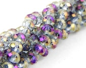Electroplated Glass Faceted Rondelle Beads Gold, 6x4mm, Approximately 18in, Violet Fire Polished, Gold Purple Grey Blue Rainbow, SBG-001D