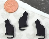 BLACK CATS - Laser Cut Acrylic Cabochons - Set of 3