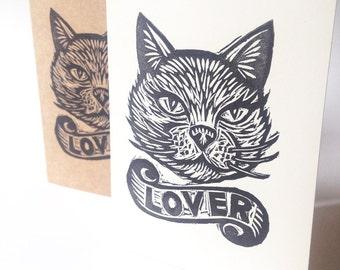 Greeting Card, Cat Card, Cat Lover Woodcut Hand Printed Greeting Card