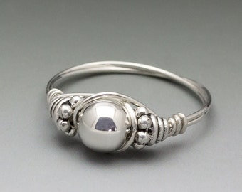 Sterling Silver Wire Wrapped Bali Bead Ring - Made to Order, Ships Fast!