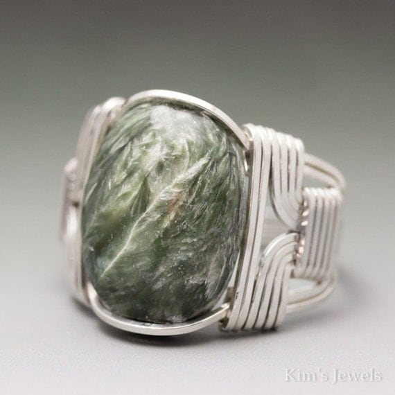 Seraphinite Clinochlore Cabochon Sterling Silver Wire Wrapped Ring - Made to Order and Ships Fast!