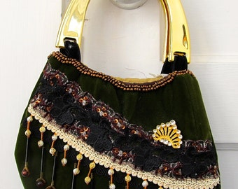 ON SALE:  Vintage Green Velvet Purse