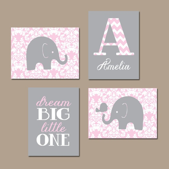 Elephant nursery wall art pink gray damask baby girl nursery - Wall decor girl nursery ...