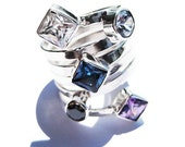 Black Diamond Ring with Sapphire Topaz and Amethyst Set in Sterling Silver