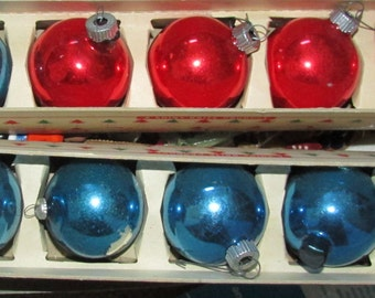 christmas ornaments shiny brites red and blue