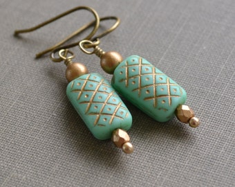 Mint Green and Gold Earrings, Green Glass, French Hook, Checkered, Bridesmaid Earrings, Bridal Jewelry