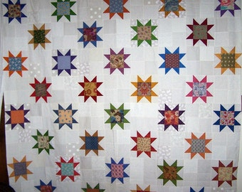 Heirloom patchwork shower curtain sawtooth stars