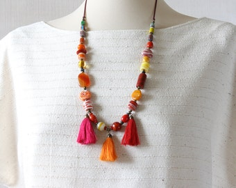 Tribal Necklace, Long Tassel Jewelry Woman Statement Bright Orange Pink Red by red2white