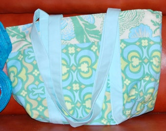 Batik Quilted Bow Tucks Tote/ You choose the fabrics/  Made to Order