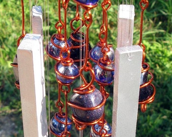 Windchime with Blue Goldstone, Recycled Aluminum and Copper Wrapped Blue Glass Marble Prisms, Outdoor Garden