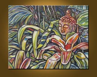 Art Painting -- Buddha Garden III -- 16 x 20 inch Original Oil Painting by Elizabeth Graf on Etsy