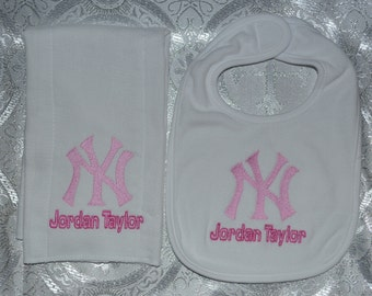 New York Yankees Baby Bib Burp Cloth Set Personalized Embroidery FREE SHIPPING in USA