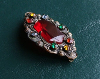 Antique Jeweled Faceted Red Glass & Rhinestone Brooch Pin