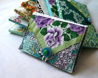 Photo Album Brag Book Vintage Fabric Hankerchief Button Green Aqua Lavender Romantic Valentines Day